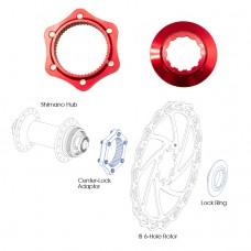 ALHONGA Адаптер втулка Center Lock/ ротор 6 болтов, красный
