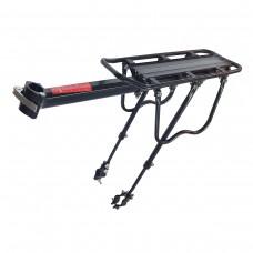 Багажник HS-022 консольный + телескопические стойки на перья вилки, алюминий, с экцентриком, с защитными дугами