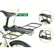 Багажник для велосипеда - трансформер yf788 консольный, алюминий, макс.нагр.10кг, чёрный