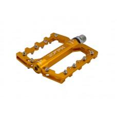 Велосипедные педали TBS mlg-CK539 алюминиевые CNC, 90х105х7мм, ось CrMo, 3 промподшипника, сменные шипы, вес 344г