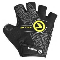 Велосипедные перчатки Kellys comfort без пальцев цвет: чёрный салатовый
