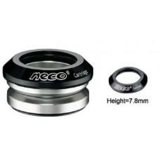 """Neco рулевая н52 интегрированная 1-1/8""""х30мм, высота 9,4±0,5мм, вес 71г, промподшипники d:41,8x45*x45*, крышка 7,8мм, алюминий 6061, cnc/ сталь, чёрная, 6 частей"""