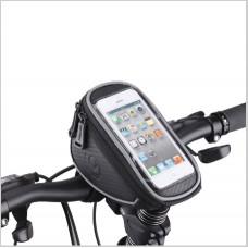 Сумка для велосипеда Mingda на руль и вынос L17,5хH8,5хW10,5 с отделением для смартфона 16,5х8,5см, крепление на липучках, материал ...