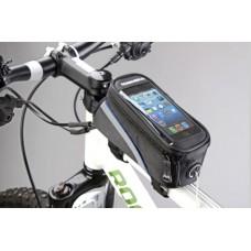 """Сумка для велосипеда Mingda сумка на раму l19,5хh9хw8,5 с отделением для смартфона, окошко 4,8"""", крепление на липучках, материал 420d влагостойкий"""