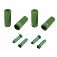 Jagwire наконечники оболочек (10х4,5мм, 6х5мм) и тросов (4шт.) зелёные. комплект