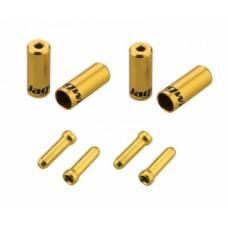 Jagwire наконечники оболочек (10х4,5мм, 6х5мм) и тросов (4шт.) золотые. комплект