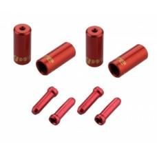 Jagwire наконечники оболочек (10х4,5мм, 6х5мм) и тросов (4шт.) красные. комплект