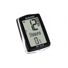 Велокомпьютер SIGMA BC 14.16, 14 функций: скорость текущая/ средняя/ сравн. тек.и средней/ максимальная; расстояние з...