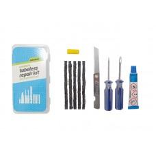 WELDTITE Аптечка для ремонта бескамерных покрышек, 3 резиновых жгута со специальным шилом для установки, складной ножик, клей, мелок, шило