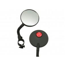 Велосипедное зеркало Suntek зеркало круглое d:50мм на гибкой ножке с красным катафотом на обратной стороне