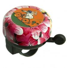 """Велосипедный звонок jh-800a1, d:55мм. материал: купол - алюминий, база - пластик. цвет: розовый, рисунок """"мышка на велосипеде""""."""