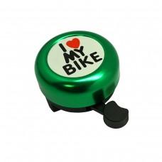 "Звонок ""I LOVE MY BIKE"" зелёный, сталь/пластик"