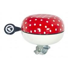 """Велосипедный звонок Kellys Bell 80. диаметр: 80мм. сталь. рисунок: """"красный в горошек"""""""